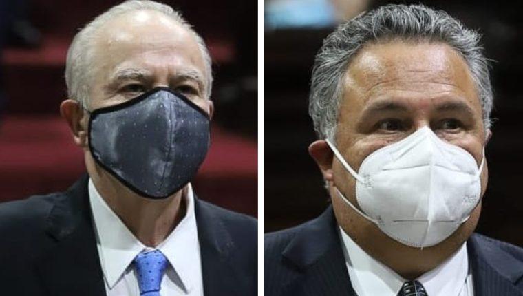 Roberto Molina Barreto y Jorge Rosales Mirón, magistrados titular y suplente a la CC nombrados por la CSJ. (Foto Prensa Libre: Congreso)