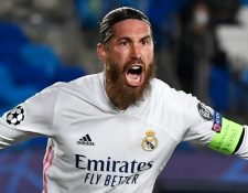 Sergio Ramos, el capitán del Real Madrid, consigue su gol 100 con el club merengue. (Foto Prensa Libre: AFP)