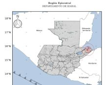 Mapa del sismo de este 7 de noviembre en Guatemala. (Foto Prensa Libre: Insivumeh)