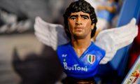 Napoli (Italy), 07/12/2020.- A figurine of late soccer legend Diego Maradona is displayed in a crib of San Gregorio Armeno dedicated to Diego Armando Maradona, in Naples, Italy, 07 December 2020. (Italia, Nápoles) EFE/EPA/CIRO FUSCO