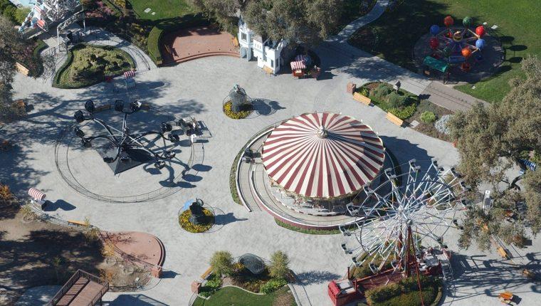 Una foto de archivo que muestra una vista aérea del rancho Neverland de la fallecida estrella del pop estadounidense Michael Jackson en Santa Ynez, California.  (Foto Prensa Libre: EFE)
