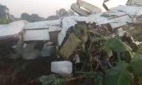 Avioneta accidentada en San José La Máquina, Suchitepéquez. (Foto Prensa Libre: Ejército de Guatemala)