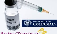 """(FILES) This file illustration picture taken in Paris on November 23, 2020 shows a syringe and a bottle reading """"Covid-19 Vaccine"""" next to AstraZeneca company and University of Oxford logos. - The Covid-19 vaccine developed by the British drugs group AstraZeneca and the University of Oxford has achieved a """"winning formula"""" for efficacy, the company's chief executive said on Sunday, December 27. (Photo by JOEL SAGET / AFP)"""