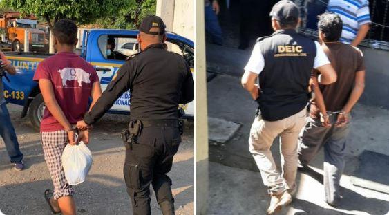 Agentes conducen a sospechosos del crimen contra una menor en Escuintla. (Foto: PNC)