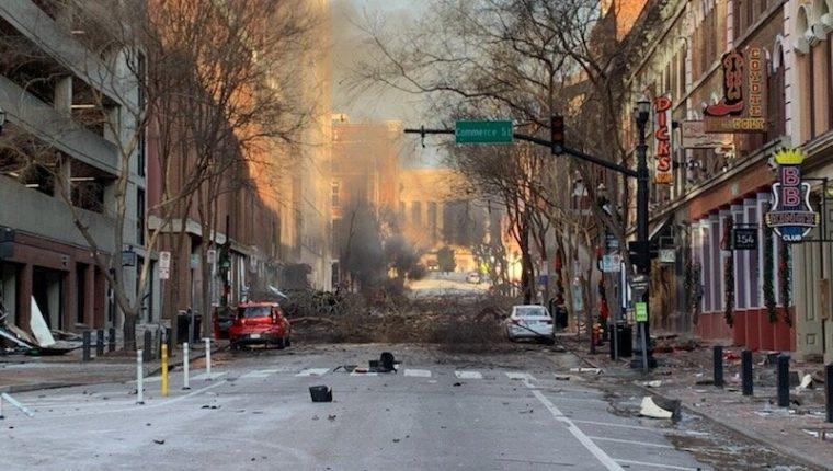 La Policía de Nashville indicó que una fuerte explosión ocurrida este 25 de diciembre pudo haber sido provocada. (Foto Prensa Libre: AFP)