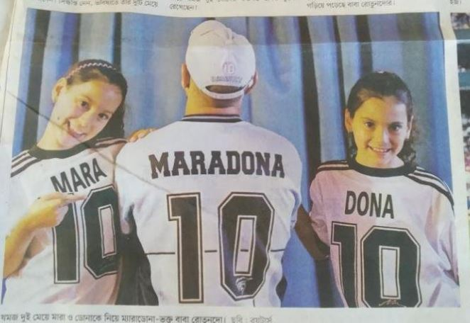 """Fanático de Maradona llama a sus mellizas Mara y Dona: """"Es obvio que hubo una mano de Dios"""""""