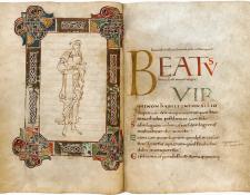 Frontispicio y Salmo 1 en el salterio de Becket.