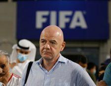 Gianni Infantino, presidente de la FIfa. Esta organización y sus confederaciones rechazan la Supreliga europea. Foto Prensa Libre: EFE.