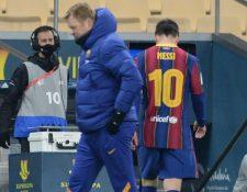 Lionel Messi salió expulsado en la Supercopa de España. (Foto Prensa Libre: AFP)