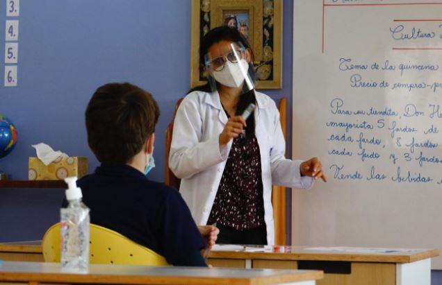 Algunos colegios iniciaron con las clases de forma presencial. (Foto Prensa Libre: Fernando Cabrera)