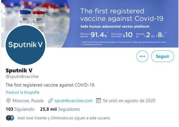 La cuenta de Sputnik V @sputnikvaccine fue restringida por Twitter. (Foto Prensa Libre:)