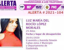 Alerta de desaparición de Luz María del Rocío López Morales.