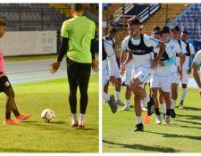 Los jugadores de Puerto Rico y Guatemala en los entrenamientos antes de enfrentarse en el estadio Doroteo Guamuch Flores. Foto Prensa Libre: redes sociales.
