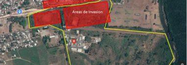 El Grupo Duwest dio a conocer el área industrial en Ayutla, San Marcos, y en rojo el área invadida, según la denuncia. (Foto, Prensa Libre: Duwest).