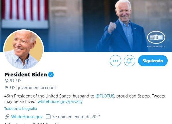 Cuenta oficial de Twitter del presidente Joe Biden. (Foto Prensa Libre: Twitter)