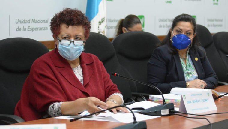 Amelia Flores, ministra de salud, en una citación con la bancada UNE. (Foto Prensa Libre: Twitter @UneBancada)