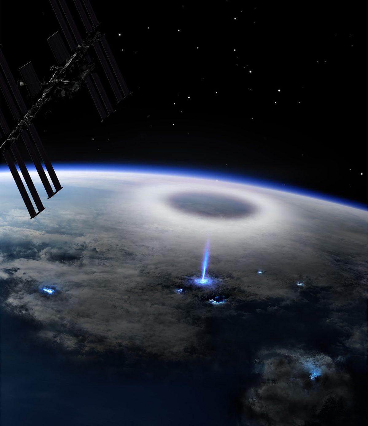 Científicos captan un rayo azul en la tierra desde el espacio