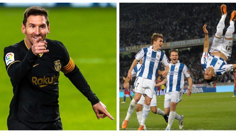 FC Barcelona y Real Sociedad se enfrentan en la semifinal de la Supercopa de España este trece de enero a las 14 horas. Foto Prensa Libre: @FCBarcelona_es y @RealSociedad