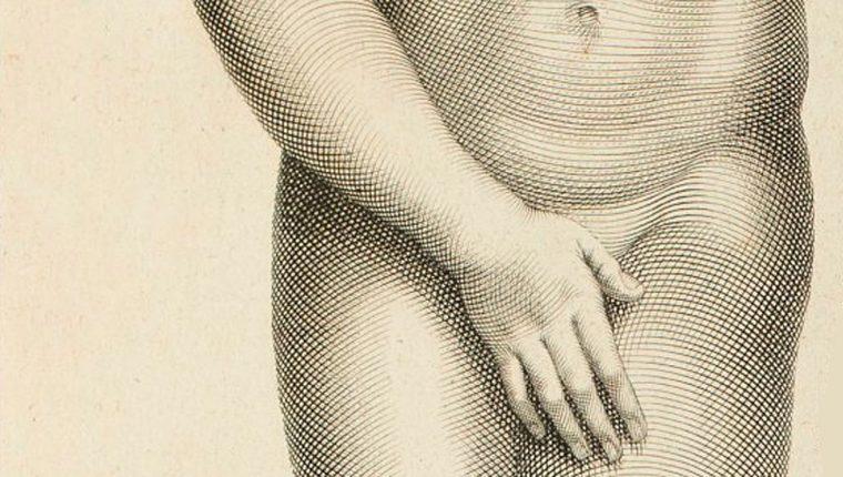 El pudor de la diosa del amor y el sexo marcó el arte occidental. (Detalle de grabado de Afrodita de Cnidos de Claude Randon 1674 - 1704)