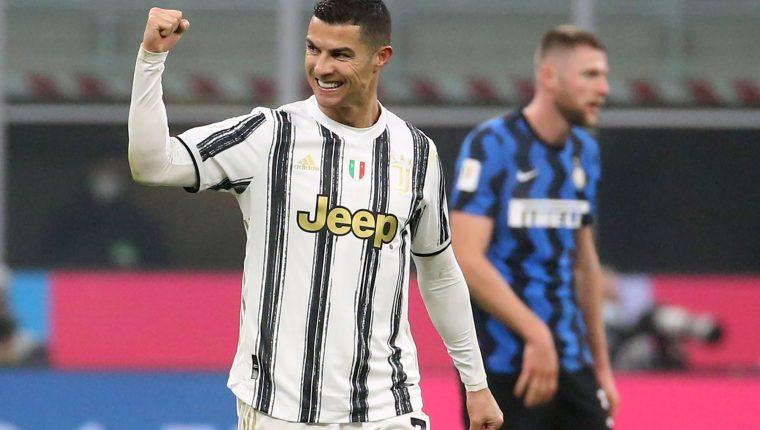 Cristiano Ronaldo festejó dos veces frente al Inter de Milán. (Foto Prensa Libre: EFE)