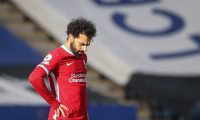 Leicester (United Kingdom), 13/02/2021.- Mohamed Salah of Liverpool reacts during the English Premier League soccer match between Leicester City and Liverpool FC in Leicester, Britain, 13 February 2021. (Reino Unido) EFE/EPA/Carl Recine / POOL EDITORIAL USE ONLY. No use with unauthorized audio, video, data, fixture lists, club/league logos or 'live' services. Online in-match use limited to 120 images, no video emulation. No use in betting, games or single club/league/player publications.