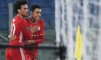 Rome (Italy), 23/02/2021.- Bayern'Äôs Jamal Musiala (R) celebrates with teammate Leroy Sane (L) after scoring the 0-2 goal during UEFA Champions League round of 16 first leg soccer match between SS Lazio and Bayern Munich at Stadio Olimpico in Rome, Italy, 23 February 2021. (Liga de Campeones, Italia, Roma) EFE/EPA/MAURIZIO BRAMBATTI