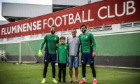 Río De Janeiro (Brazil), 25/02/2021.- A handout photo made available by the Fluminense FC that shows businessman Jose Becker (2-R), father of Brazilian goalkeepers Alisson (R), from Liverpool FC, and Muriel (L), from Fluminense, while posing in Rio de Janeiro, Brazil, 25 February 2021. Becker drowned in a dam that passes through his property in the south of the country, as reported early 25 February by relief agencies. (Brasil) EFE/EPA/Lucas Merçon / Fluminense FC HANDOUT (MANDATORY CREDIT) HANDOUT EDITORIAL USE ONLY/NO SALES