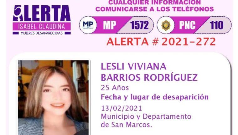 Lesli Viviana Barrios Rodríguez, esposa de Walter Sical Orozco, está desaparecida. (Foto Prensa Libre:)