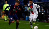 Caen's midfielder Johann Lepenant (L) fights for the ball with Paris Saint-Germain's Brazilian forward Neymar during the French Cup round-of-64 football match between Stade Malherbe Caen and Paris Saint-Germain at the Michel-d'Ornano Stadium in Caen, northwestern France on February 10, 2021. (Photo by Sameer Al-DOUMY / AFP)