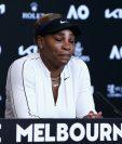 La tenista estadounidense Serena Willams no pudo terminar la conferencia de prensa. (Foto Prensa Libre: AFP)