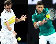 Daniil Medvedev y Novak Djokovic jugarán la final del Abierto de Australia. Foto Prensa Libre: AFP