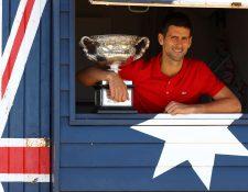 Novak Djokovic ganó por novena ocasión el Abierto de Australia. Foto Prensa Libre: AFP.