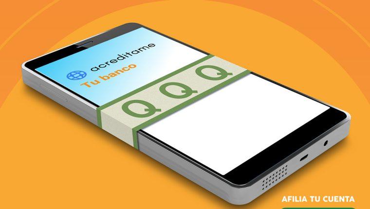 Para usar acreditame tiene que ser cuentahabiente de Banrural, descargar la aplicación móvil acreditame en su Smartphone. Foto Prensa Libre: Cortesía