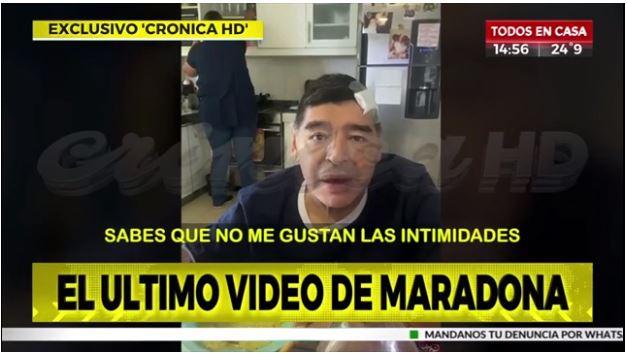 El video con nuevas imágenes de los últimos momentos de Diego Armando Maradona fue publicado por Crónica HD. (Foto prensa Libre: Captura de pantalla)