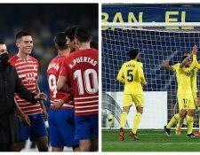 Los jugadores del Granada (d) y el Villarreal (i) celebran el pase a la siguiente fase de la Europa League. Foto Prensa Libre: AFP y EFE