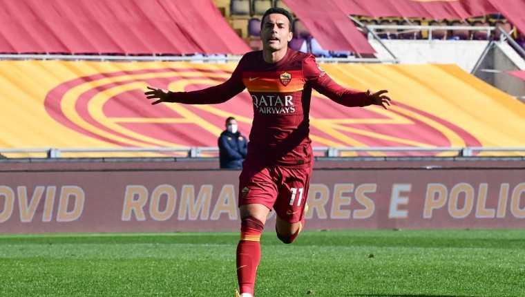 Pedro Rodríguez festeja   uno de los goles en la victoria de la Roma contra el Udinese. Foto AS Roma.