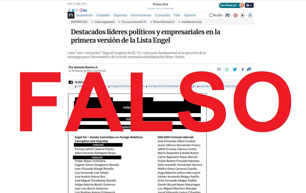 Alerta: Supuesta noticia simulando ser de Prensa Libre acerca de la lista Engel circula en la red