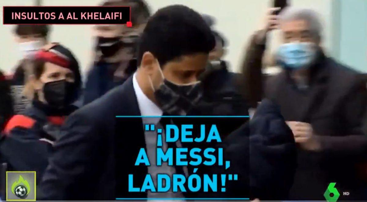 """""""Deja a Messi, ladrón"""": Aficionados del Barcelona insultan al propietario del PSG a su llegada a Barcelona"""