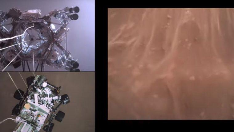 Una captura de fotografías de un material de video facilitado por la NASA muestra las vistas de la superficie de Marte. (Foto Prensa Libre: EFE)