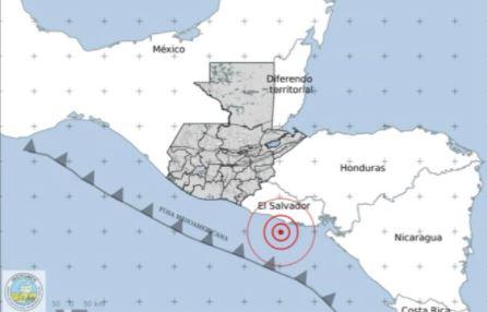 El temblor de 5.8 grados que ocurrió en El Salvador la madrugada de este 10 de febrero fue sensible en varios departamentos de Guatemala. (Foto Prensa Libre: Insivumeh)