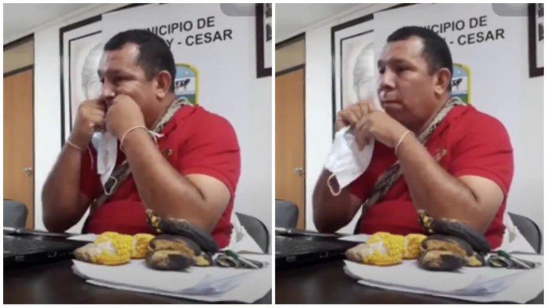 Video: Alcalde de provincia colombiana causa polémica por usar la mascarilla como hilo dental