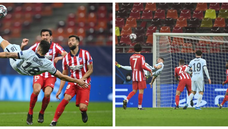 De chilena. Así marcó Olivier Giroud el único gol del partido. Foto Prensa Libre: @ChelseaFC_Sp