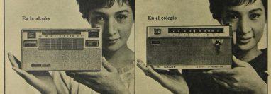 Una época en que la radio era uno de los aparatos más importantes, cada vez más portátiles y para diferentes espacios dentro y fuera de casa.  (Foto Prensa Libre: Hemeroteca Prensa Libre).