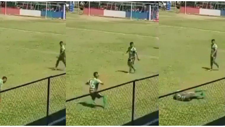 En esta secuencia, tomada del vídeo original, se observa el momento en que el jugador finge la agresión. Foto Prensa Libre: Captura de pantalla.