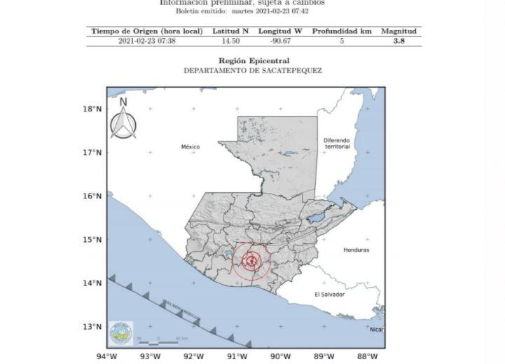 Reportan temblor de 3.8 grados con epicentro en Sacatepéquez y sensible en gran parte de Guatemala
