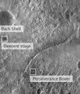 La primera imagen del robot Perseverance en la superficie de Marte fue tomada con la cámara del Experimento de Imágenes de Alta Resolución a bordo del Mars Reconnaissance Orbiter de la NASA.