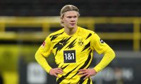 Dortmund (Germany), 13/03/2021.- Erling Haaland of Borussia Dortmund reacts during the German Bundesliga soccer match between Borussia Dortmund and Hertha BSC at Signal Iduna Park in Dortmund, Germany, 13 March 2021. (Alemania, Rusia) EFE/EPA/LARS BARON / POOL DFL regulations prohibit any use of photographs as image sequences and/or quasi-video.