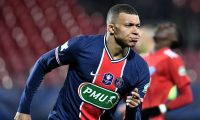 Paris Saint-Germain's French forward Kylian Mbappe celebrates after scoring the opener during the French Cup round-of-16 football match between Brest FC (Stade Brestois 29) and Paris Saint-Germain (PSG) at The Francis Le Ble Stadium in Brest, north-western France on March 6, 2021. (Photo by Fred TANNEAU / AFP)