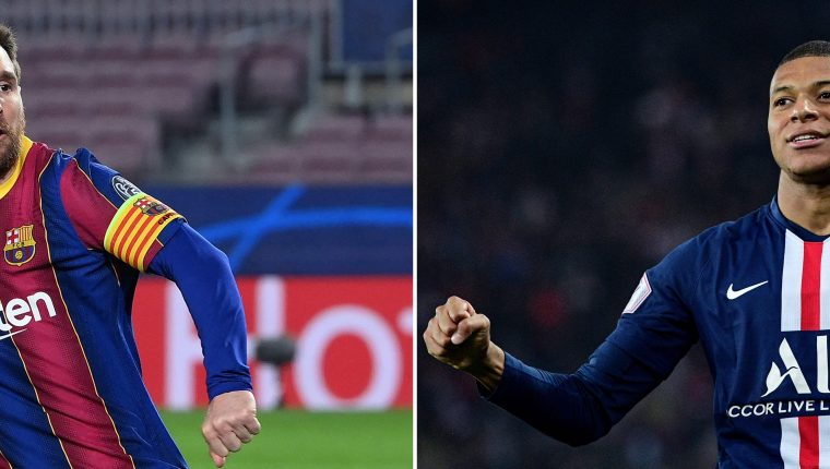 ¿Lionel Messi o Kylian Mbappe?  El primer duelo lo ganó el joven francés con un triplete. Ahora es el turno de Messi de buscar una remontada casi imposible. Foto Prensa Libre: AFP.