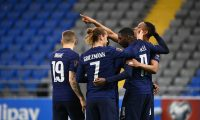 France's forward Ousmane Dembele (2R) celebrates with teammates after scoring a goal during the FIFA World Cup Qatar 2022 qualification Group D football match between Kazakhstan and France, at the Astana Arena, in Nur-Sultan, on March 28, 2021. (Photo by FRANCK FIFE / AFP)